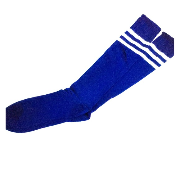 c357808283f Blue and white knee high stripe socks